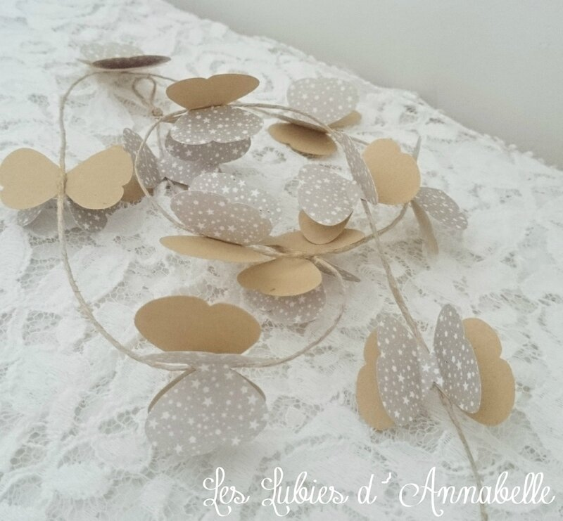 guirlande papillon papier taupe craft