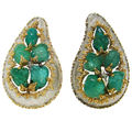 Buccellati. carved emerald & two-tone gold clip-on earrings, italy, 1990's