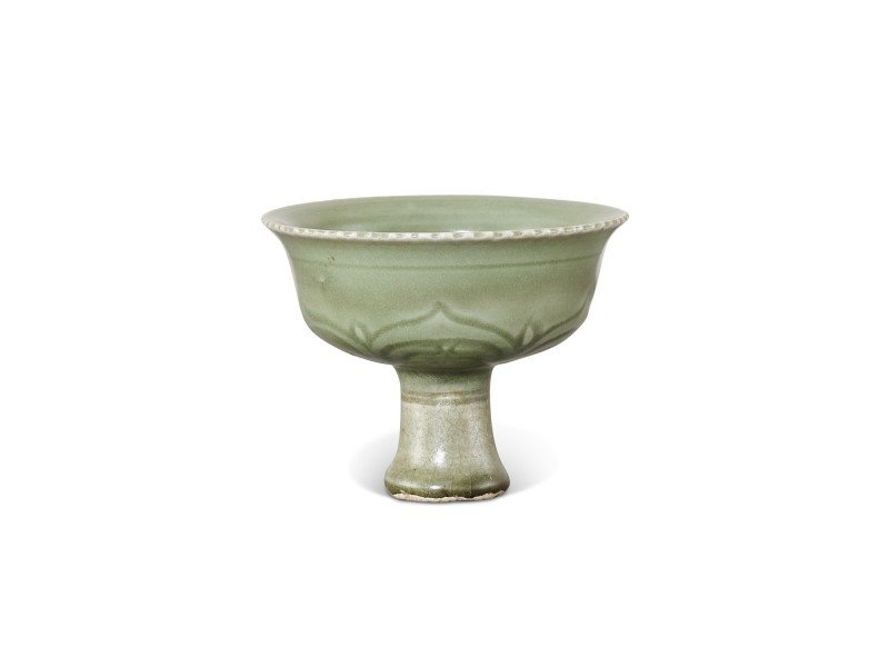 A Longquan celadon carved 'lotus' stemcup 14th century