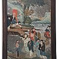 A chinese export reverse-painted mirror picture, circa 1800