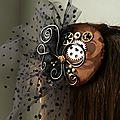 Bibi steampunk a voilette en plumetis