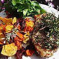 Tranches de gigot d'agneau aux saveurs provençales, cuisson à la plancha à gaz