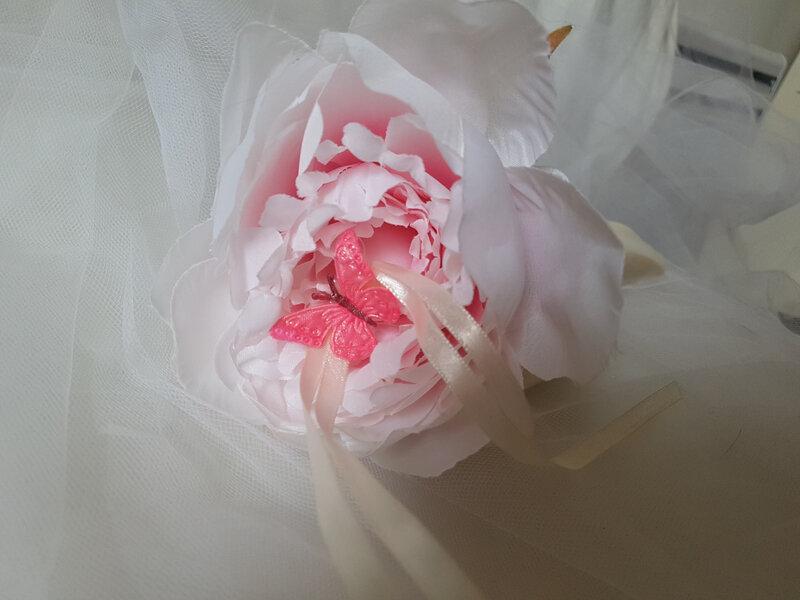 Porte alliances mariage, thème nature, campagne, pivoine, fleur (2)