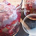 Mousse au chocolat blanc sur lit de fruits rouges et granité de framboises ( au thermomix )