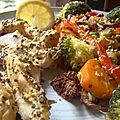 Aiguillettes de poulet en papillote accompagné d'une poêllée de légumes maison