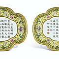 A pair of yellow-ground Famille-Rose quatrefoil 'Tea-poem' trays, Seal marks and period of Jiaqing