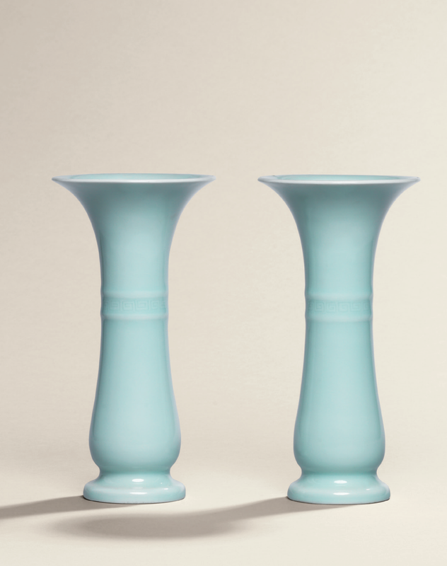 A fine and very rare pair ofclair-de-luneglazed beaker vases,zhi, Qianlong incised six-character seal marks and of the period