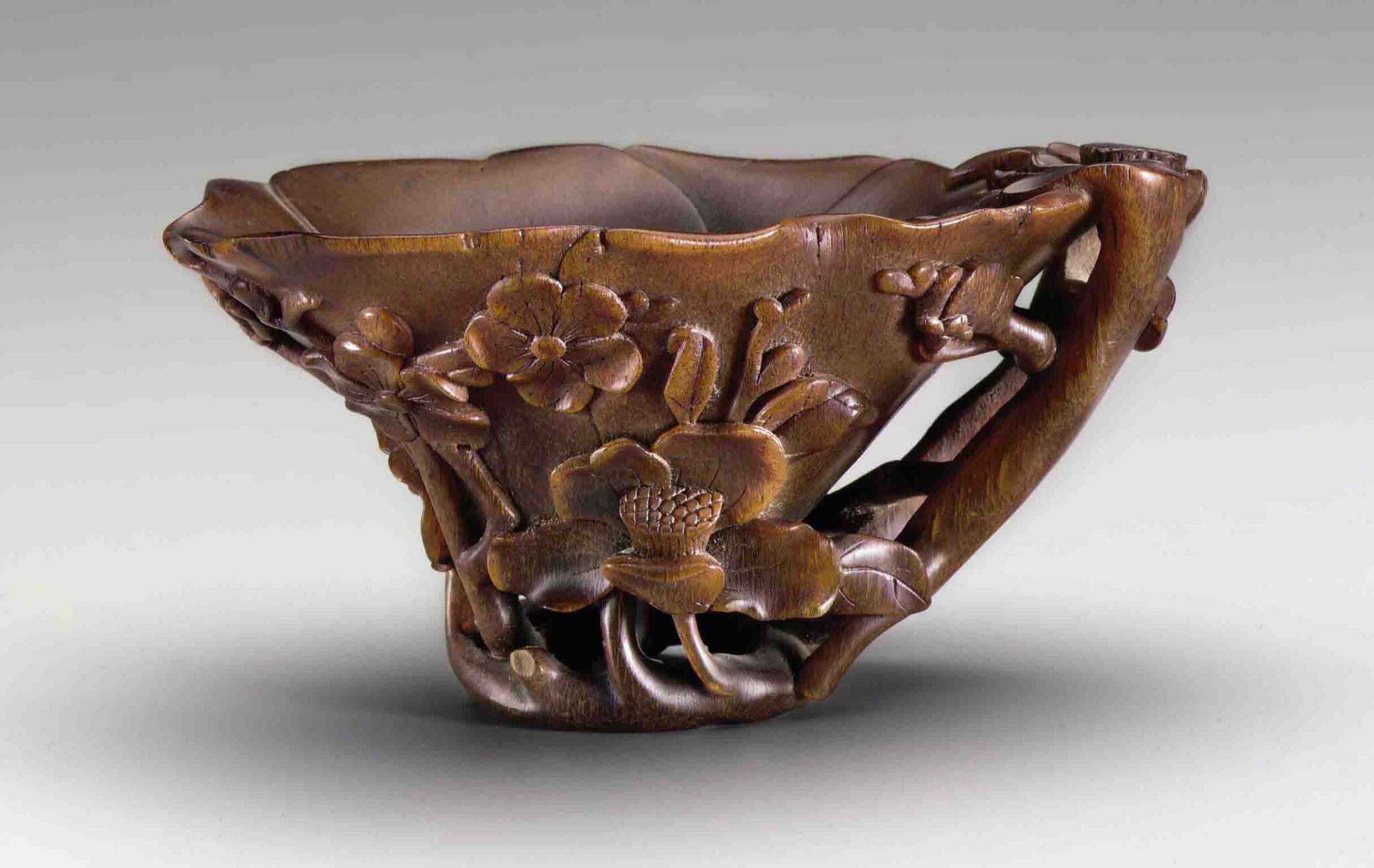 A rhinoceros horn flower-form cup, 17th-18th century