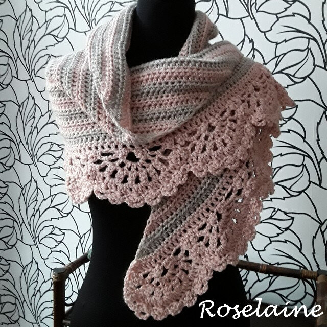 Roselaine Chic and Strong Crescent Shawl