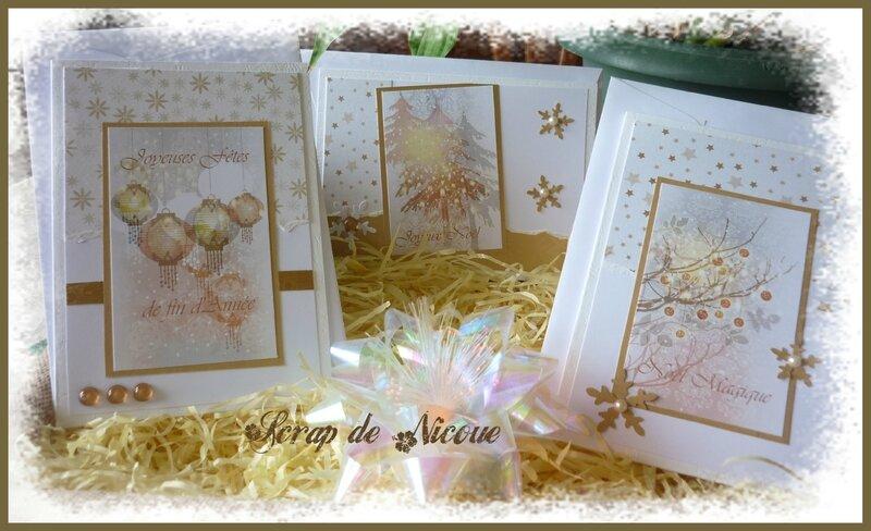 Les 3 cartes Noël Doré