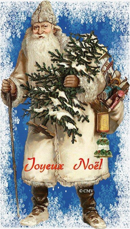 Carte Joyeux Noël Père Noël En Blanc Vintage Les Loisirs