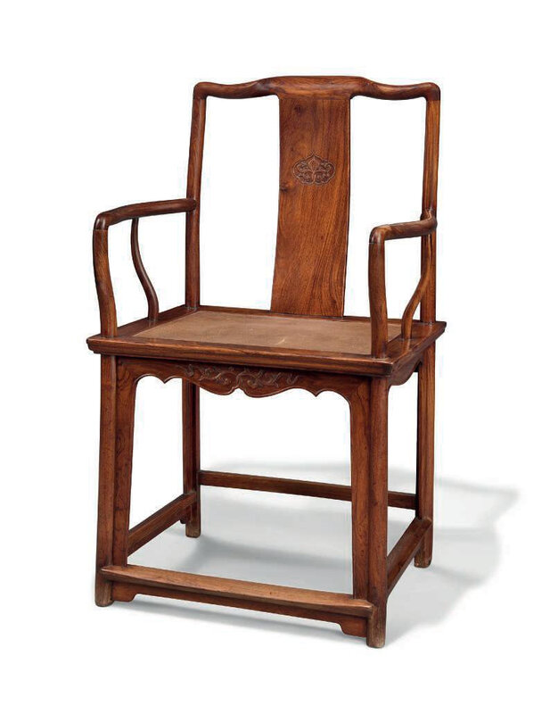 A rare huanghuali 'Southern officials hat' armchair, nanguanmaoyi, Ming dynasty, 17th century