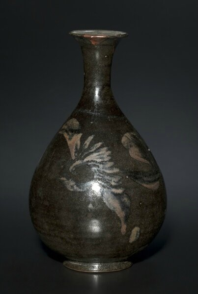Bottle Vase, Black Ware, 1200s-1300s, Northern China, Jin dynasty-Yuan dynasty
