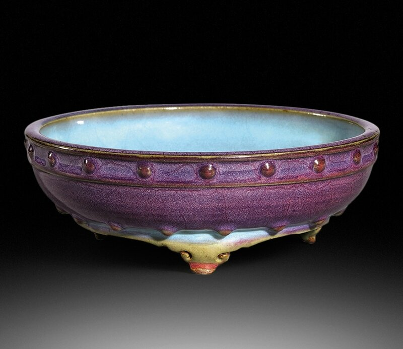 An exceptional Junyao purple and blue glazed tripod circular narcissus bowl, Early Ming dynasty