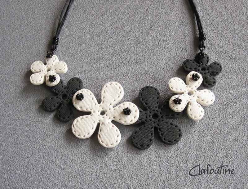Fleurettes noir/ beige