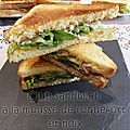Club sandwich a la mousse de roquefort et noix