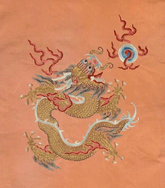 A rare embroidered Imperial apricot ground twelve symbols dragon robe, jifu, 19h century3
