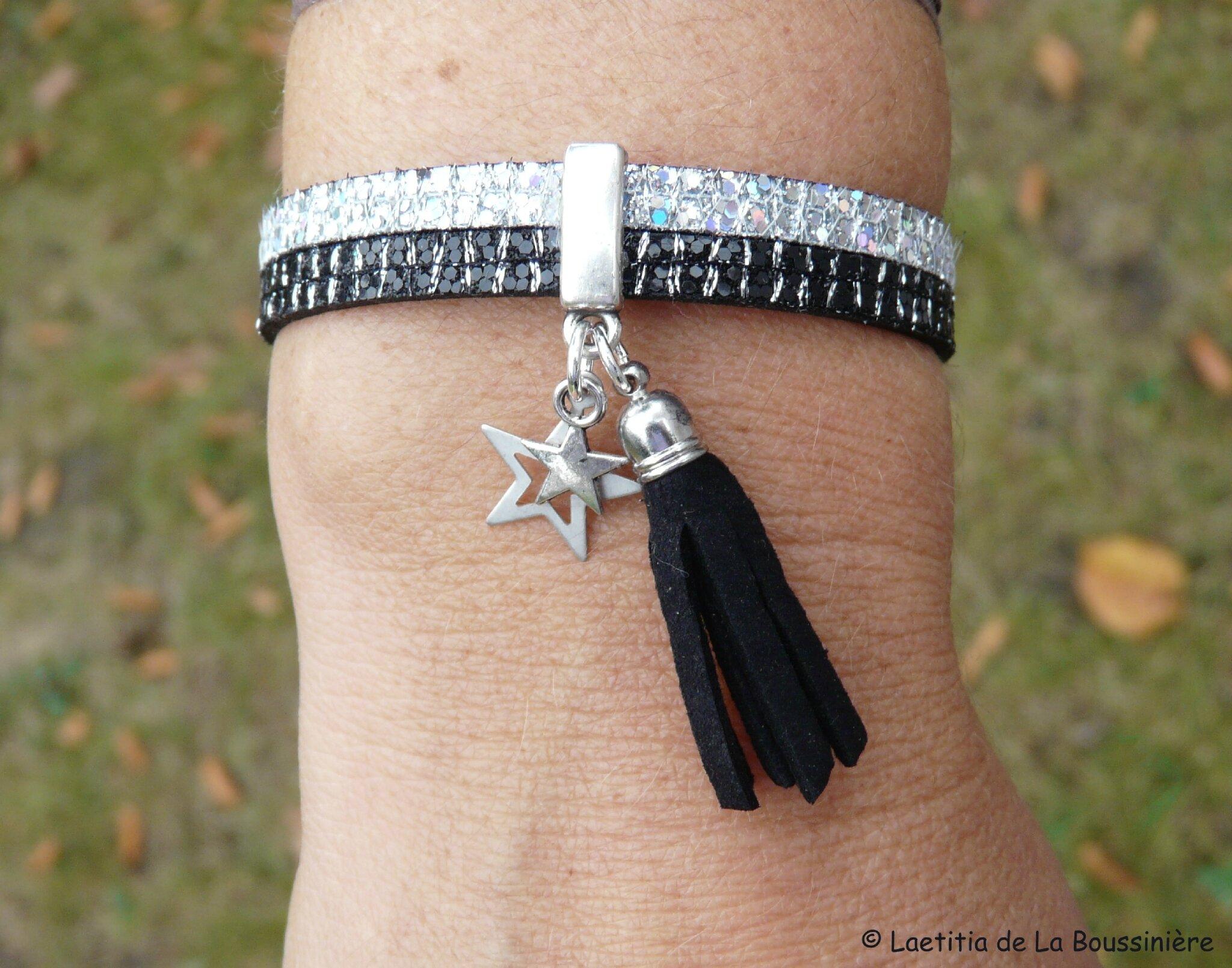 Bracelet Bicolore cuir (strassé argent et strassé noir) - porté