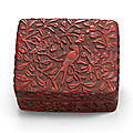 A carved cinnabar lacquer 'swallow and apricot' box and cover, ming dynasty, 16th century