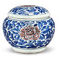 An underglaze blue and copper-red 'peony' weiqi box and cover, qing dynasty, kangxi period (1662-1722)