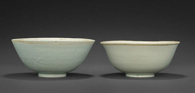 Two qingbai deep bowls, Song dynasty