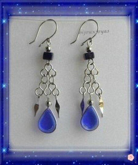 Boucles D'Oreilles Candela Verre Murano Bleu Sapphire Argent D'alpaca Pérou