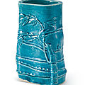 A turquoise-glazed bamboo-form vase, qing dynasty, kangxi period (1622-1722)