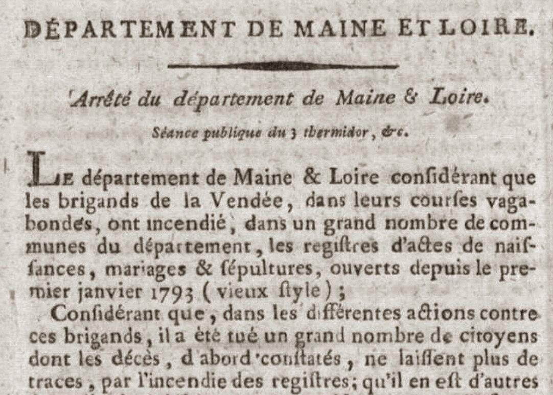 En juillet 1794, on rétablit l'état civil détruit par la guerre
