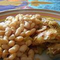 Poulet épicé aux amandes et haricots lingots