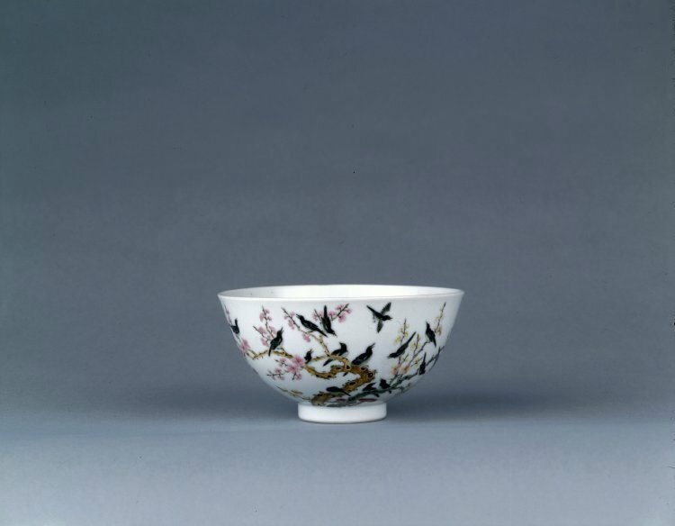 Bowl with magpies, Qing dynasty or Republican period, about AD 1800–1949