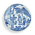 A rare blue and white seal paste box and cover, qing dynasty, kangxi period (1662-1722)