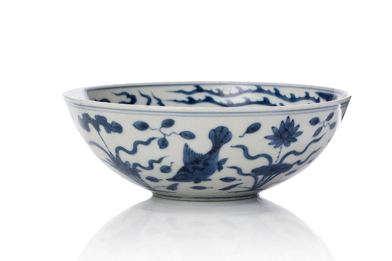 A blue and white 'Lotus and fish' bowl, Jiajing mark and period (1522-1566)