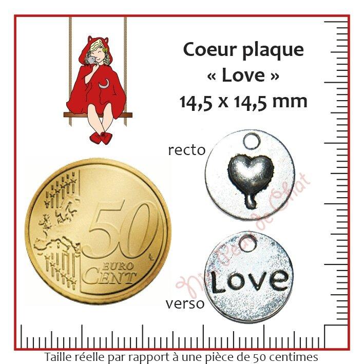 coeur plaque love 14-5 x 14-5 mm