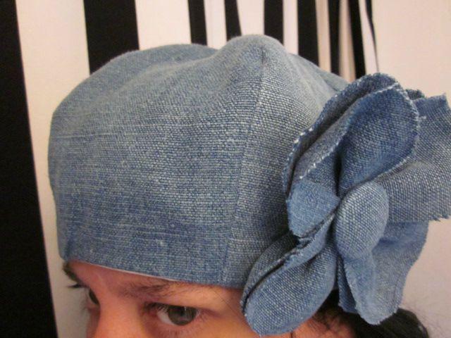 chapeau en lin fazçon jeans avec fleur (2)