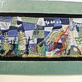 Paysages - appliqué sur patchwork déstructuré d'échantillons de lainage
