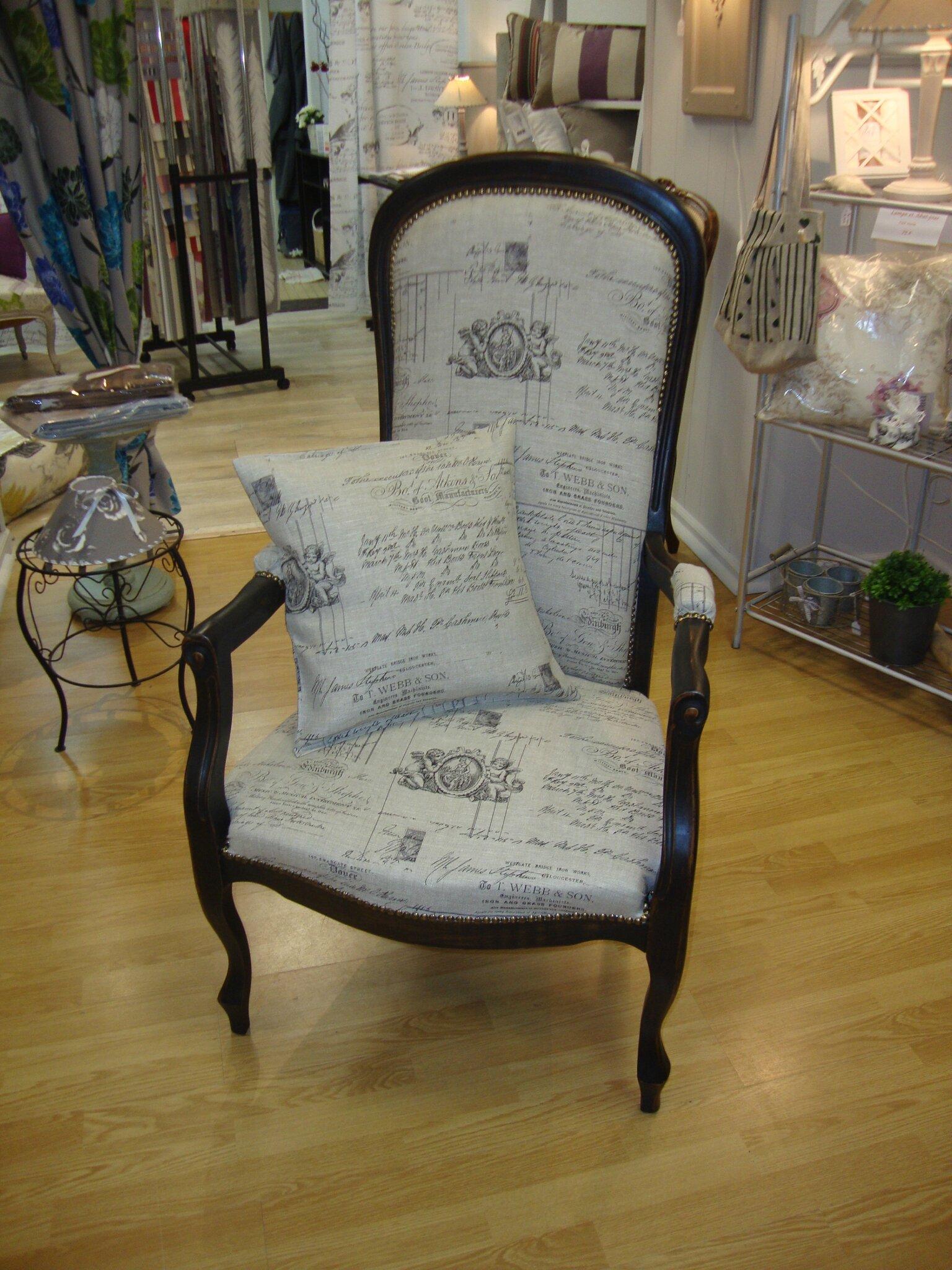 Tissus Moderne Pour Fauteuil Voltaire fauteuil patine noire et or & tissu lin - kréative déco