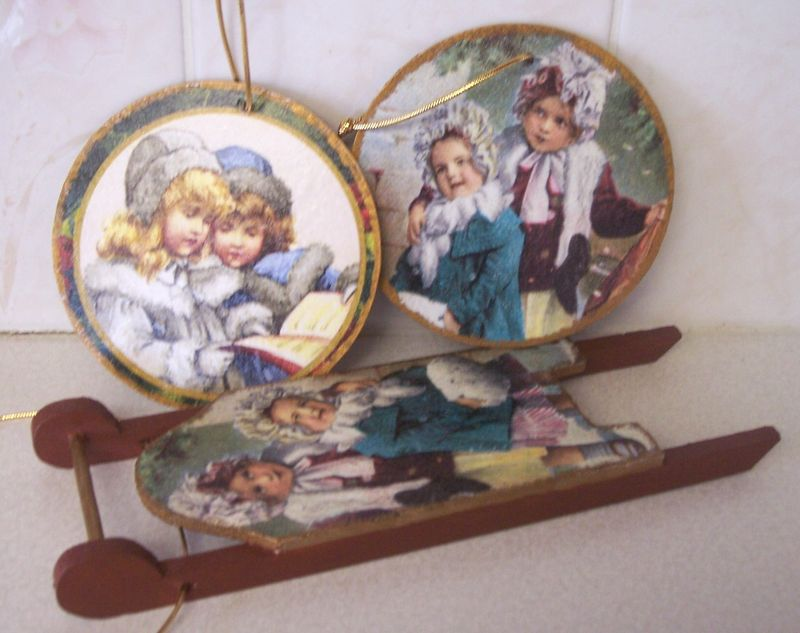 vintage kids winter sleigh and ornaments