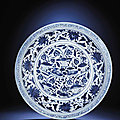 A Rare Yuan Blue And White 'Lotus Pond' Charger. Yuan Dynasty (1279-1368)