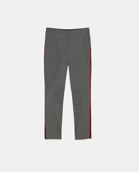 2018 0712 Zara Monaco - Pantalon gris rayure rouge