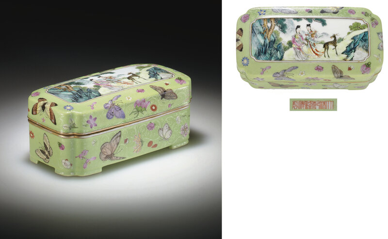 A famille rose-decorated lime-green graviata-ground rectangular box and cover, Qianlong six-character seal mark in iron red in a line and of the period (1736-1795)