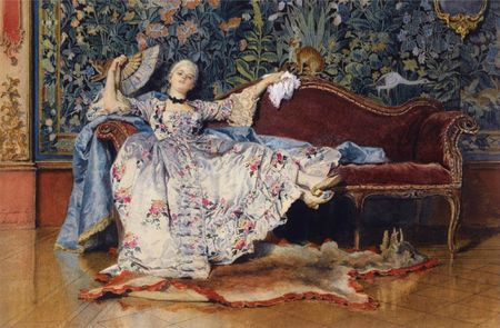 A_reclining_lady_with_a_fan_by_Eleuterio_Pagliani_(1826-1903)