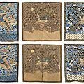 A group of three embroidered mandarin square sets including two military rank badges and one civilian, china, 19th century