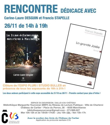 En dédicace à la bibliothèque de Marchienne-au-Pont le jeudi 26 novembre 2020