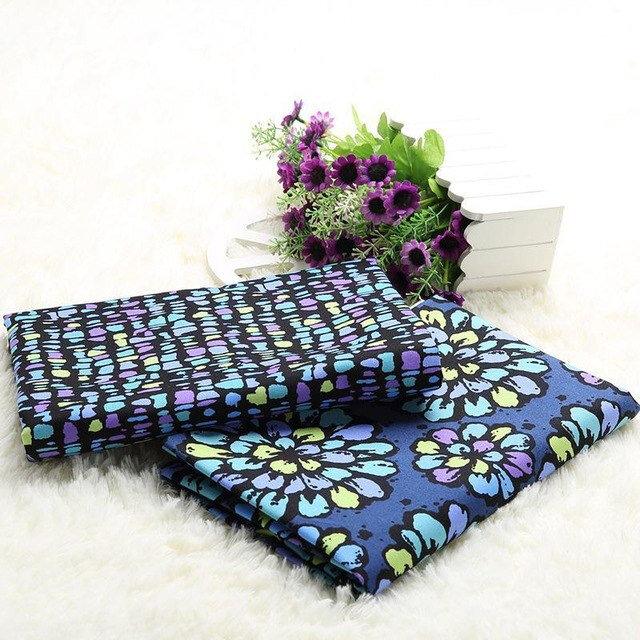 100-Coton-Tissu-Vintage-Couleur-Bleu-Fonc-Imprim-s-Floraux-BRICOLAGE-Mat-riel-De-Couture-pour
