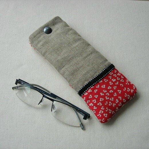 Clocréations-étui lunettes rond rouge1