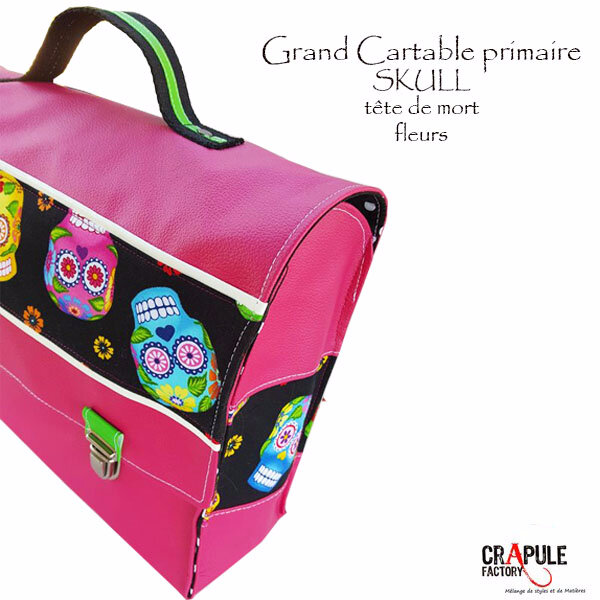 cartable primaire CP tète de mort skull original artisanal rose et fleurs made in France www.crapule-factory