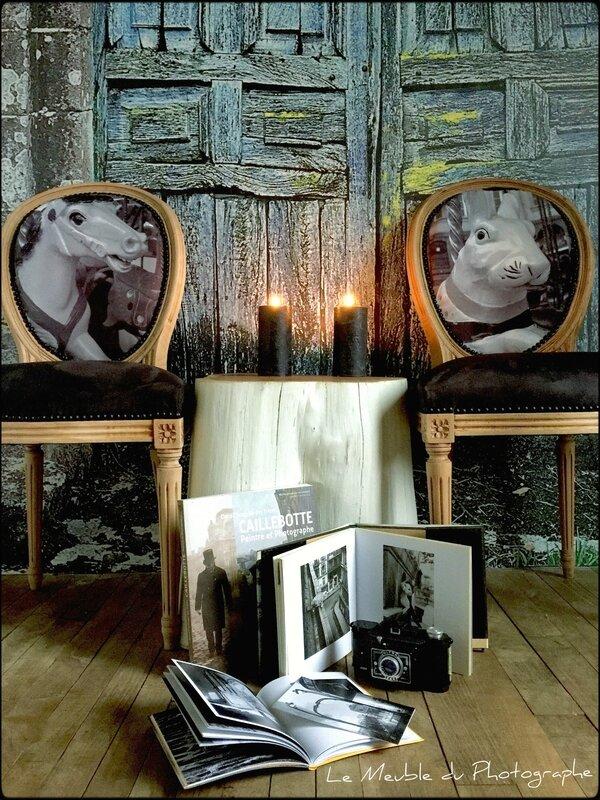 chaises medaillon, tronc arbre déco et papier peint photo par Le Meuble du Photographe, Anne-Laure Sizun