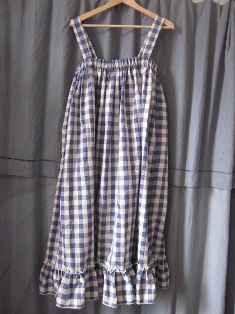 Robe champêtre en coton à carreaux bleus (2)