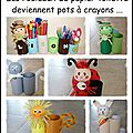 Pots à crayons animaux avec des rouleaux de papier toilette