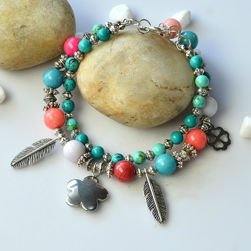 PandaHall-Tutorial-on-Two-strand-Mix-Beads-Bracelet-with-Tibetan-Style-Feather-Pendants-4